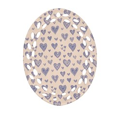 Heart Love Valentine Pink Blue Oval Filigree Ornament (two Sides) by Jojostore