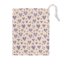 Heart Love Valentine Pink Blue Drawstring Pouches (extra Large)