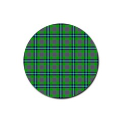 Tartan Fabric Colour Green Rubber Coaster (round)  by Jojostore