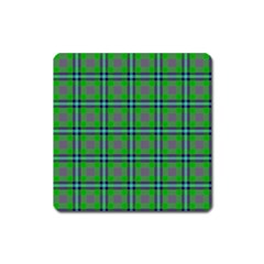 Tartan Fabric Colour Green Square Magnet by Jojostore