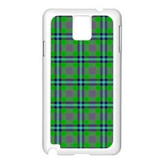 Tartan Fabric Colour Green Samsung Galaxy Note 3 N9005 Case (white) by Jojostore