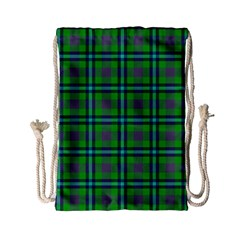 Tartan Fabric Colour Green Drawstring Bag (small)