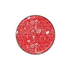 Happy Valentines Love Heart Red Hat Clip Ball Marker (10 Pack)