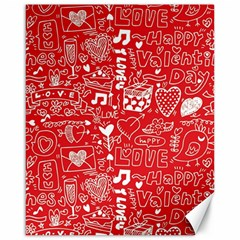 Happy Valentines Love Heart Red Canvas 16  X 20