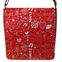 Happy Valentines Love Heart Red Flap Messenger Bag (s)