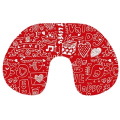 Happy Valentines Love Heart Red Travel Neck Pillows