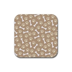 Background Bones Small Footprints Brown Rubber Coaster (square)