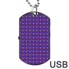 Beach Blue High Quality Seamless Pattern Purple Red Yrllow Flower Floral Dog Tag Usb Flash (one Side)