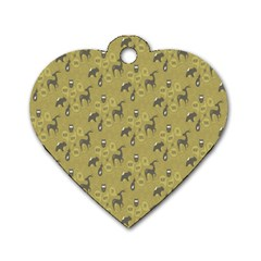 Animals Deer Owl Bird Grey Dog Tag Heart (two Sides) by Jojostore