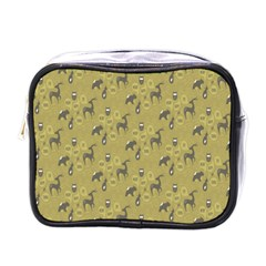 Animals Deer Owl Bird Grey Mini Toiletries Bags