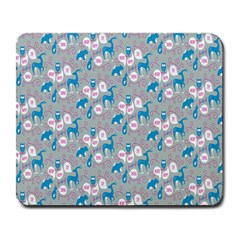Animals Deer Owl Bird Bear Grey Blue Large Mousepads by Jojostore