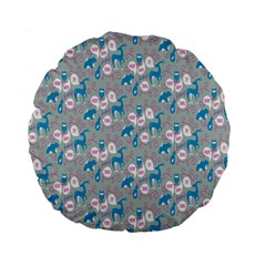 Animals Deer Owl Bird Bear Grey Blue Standard 15  Premium Round Cushions by Jojostore