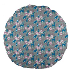 Animals Deer Owl Bird Bear Grey Blue Large 18  Premium Flano Round Cushions by Jojostore