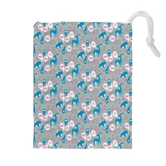 Animals Deer Owl Bird Bear Grey Blue Drawstring Pouches (extra Large) by Jojostore