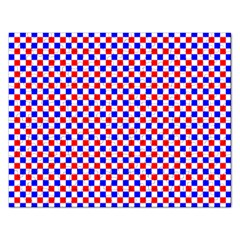 Blue Red Checkered Plaid Rectangular Jigsaw Puzzl by Jojostore