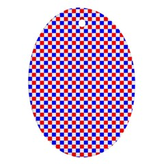 Blue Red Checkered Plaid Oval Ornament (two Sides)