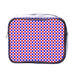 Blue Red Checkered Plaid Mini Toiletries Bags