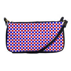 Blue Red Checkered Plaid Shoulder Clutch Bags by Jojostore