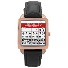 Calendar Clip January Rose Gold Leather Watch