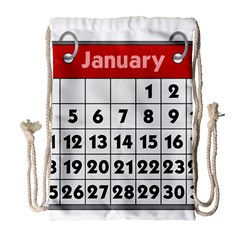 Calendar Clip January Drawstring Bag (large)