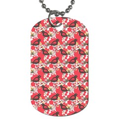 Birds Seamless Cute Birds Pattern Cute Red Dog Tag (two Sides) by Jojostore