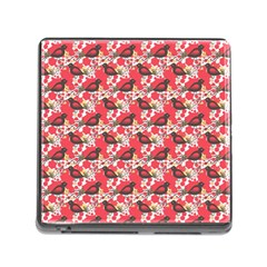 Birds Seamless Cute Birds Pattern Cute Red Memory Card Reader (square) by Jojostore