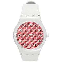 Birds Seamless Cute Birds Pattern Cute Red Round Plastic Sport Watch (m)