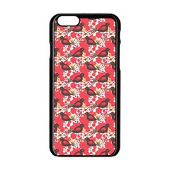 Birds Seamless Cute Birds Pattern Cute Red Apple Iphone 6/6s Black Enamel Case
