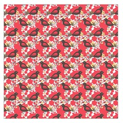 Birds Seamless Cute Birds Pattern Cute Red Large Satin Scarf (square) by Jojostore