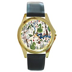 Bird Green Swan Round Gold Metal Watch by Jojostore