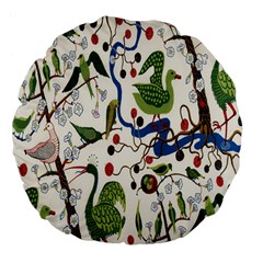 Bird Green Swan Large 18  Premium Flano Round Cushions