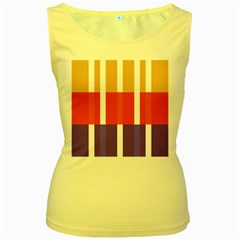 Compound Grid Flag Purple Red Brown Women s Yellow Tank Top