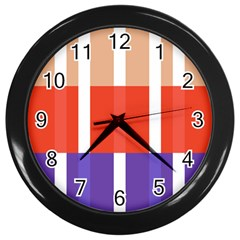 Compound Grid Flag Purple Red Brown Wall Clocks (black) by Jojostore