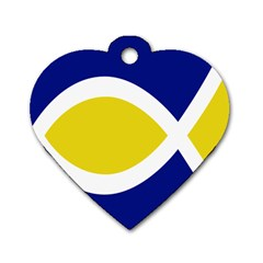Flag Blue Yellow White Dog Tag Heart (two Sides)
