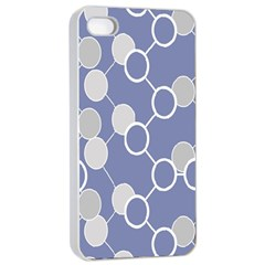 Circle Blue Line Grey Apple Iphone 4/4s Seamless Case (white) by Jojostore