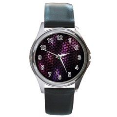 Fabulous Purple Pattern Wallpaper Round Metal Watch