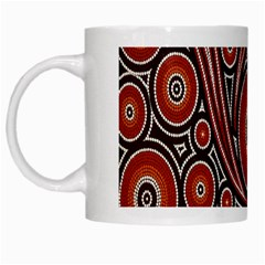 Circle Flower Art Aboriginal Brown White Mugs by Jojostore