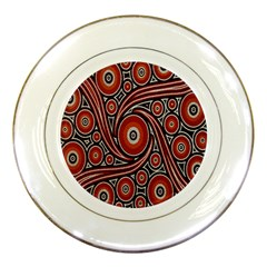 Circle Flower Art Aboriginal Brown Porcelain Plates by Jojostore
