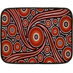 Circle Flower Art Aboriginal Brown Double Sided Fleece Blanket (mini)
