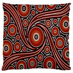 Circle Flower Art Aboriginal Brown Large Cushion Case (two Sides) by Jojostore