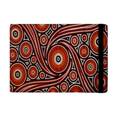 Circle Flower Art Aboriginal Brown Apple Ipad Mini Flip Case by Jojostore