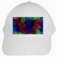 Floral Flower Rainbow Color White Cap by Jojostore