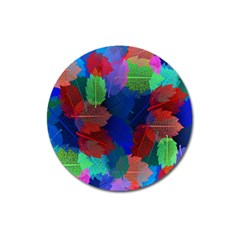 Floral Flower Rainbow Color Magnet 3  (round)