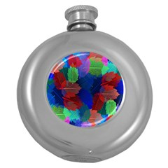 Floral Flower Rainbow Color Round Hip Flask (5 Oz)
