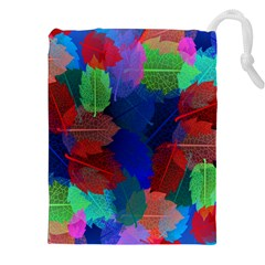 Floral Flower Rainbow Color Drawstring Pouches (xxl) by Jojostore