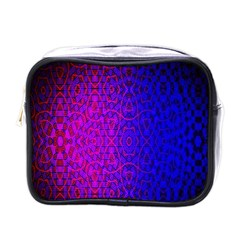 Geometri Purple Pink Blue Shape Pattern Flower Mini Toiletries Bags