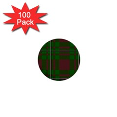 Cardney Tartan Fabric Colour Green 1  Mini Buttons (100 Pack)  by Jojostore