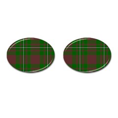 Cardney Tartan Fabric Colour Green Cufflinks (oval) by Jojostore