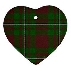 Cardney Tartan Fabric Colour Green Heart Ornament (two Sides) by Jojostore