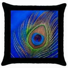 Blue Peacock Feather Throw Pillow Case (black) by Amaryn4rt